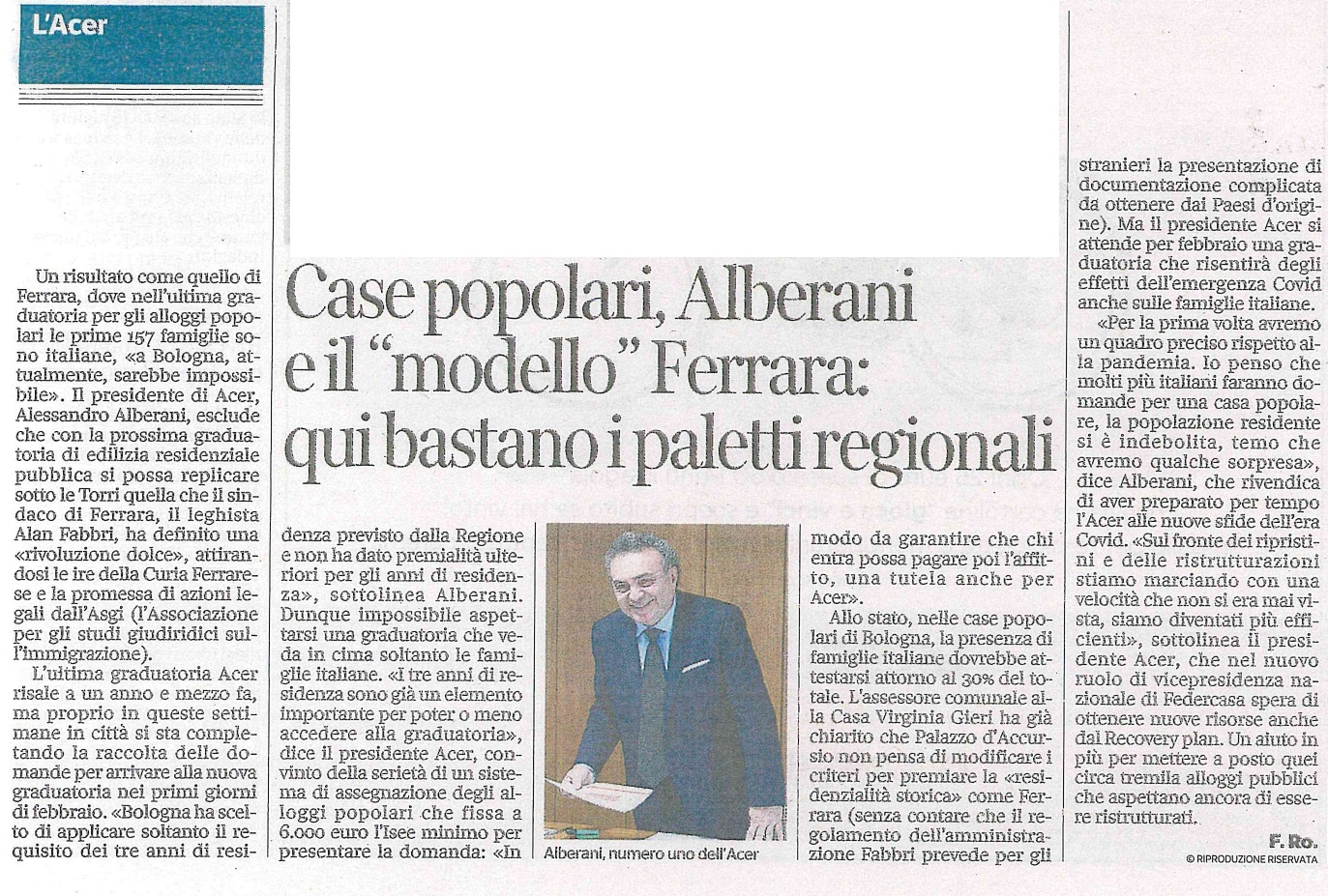 7 gennaio 2021, intervista al Corriere di Bologna: