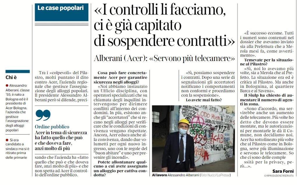 15 maggio 2021, Corriere di Bologna: Sicurezza,