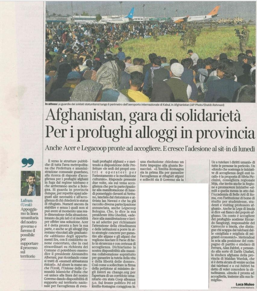 20 agosto 2021, Il Corriere di Bologna: